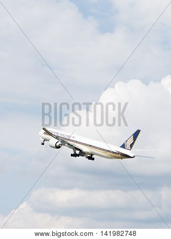 The Moscow region - 31 July 2016: Very powerful large passenger aircraft Boeing 777-312ER Singapore Airlines flies to Domodedovo airport July 31 2016 Moscow Region Russia