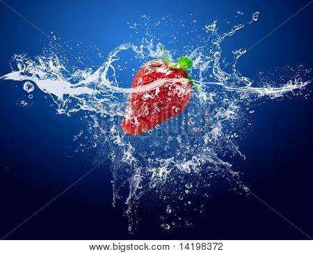 Water drops around strawberry on blue background