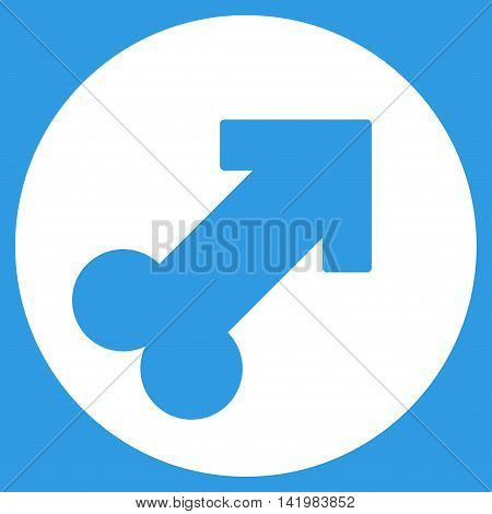 Erection vector icon. Style is flat symbol, white color, rounded angles, blue background.