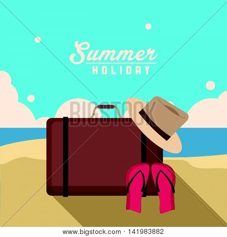 bag sandals hat beach summer holiday vacation icon. Colorfull and flat illustration. Vector graphic