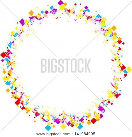 White round background with color rhombs. Vector paper illustration.
