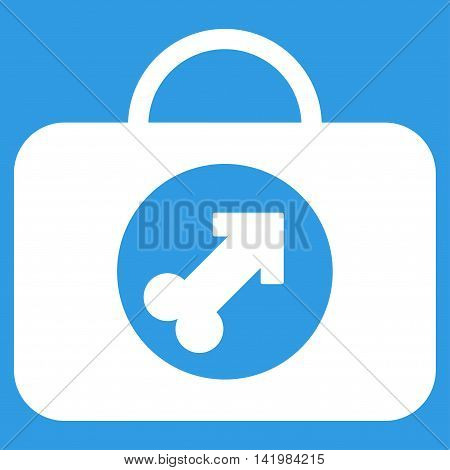 Male Erection Case vector icon. Style is flat symbol, white color, rounded angles, blue background.