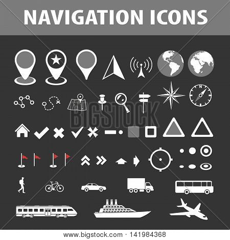 Cartography and topography icon set. Maps location and navigation icons. Vector illustration.