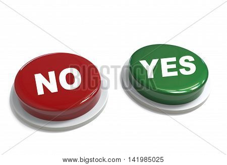 3D Rendering Of A Red And Green Button Withyes And No Word  Written On It