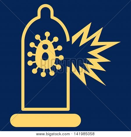 Damaged Condom With Virus vector icon. Style is flat symbol, yellow color, rounded angles, blue background.