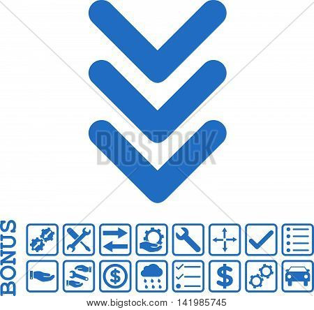 Triple Arrowhead Down icon with bonus pictograms. Vector style is flat iconic symbol, cobalt color, white background. Bonus style is square rounded frames with symbols inside.