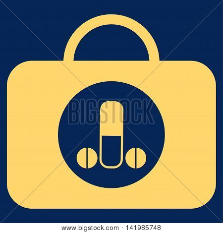 Male Sexual Toolbox vector icon. Style is flat symbol, yellow color, rounded angles, blue background.