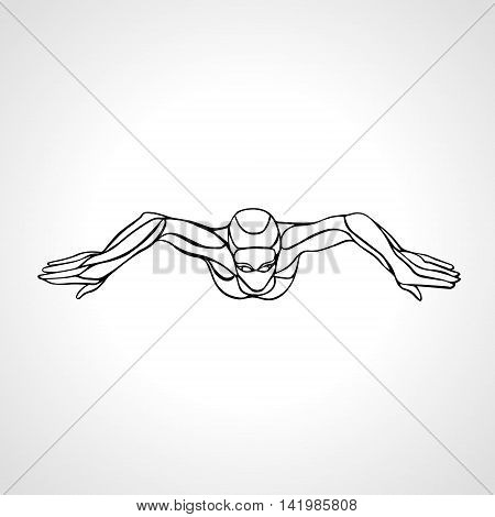 Breaststroke Female Swimmer Black Outline Silhouette. Sport swimming, Breast stroke, front view. Vector Professional Swimming Illustration