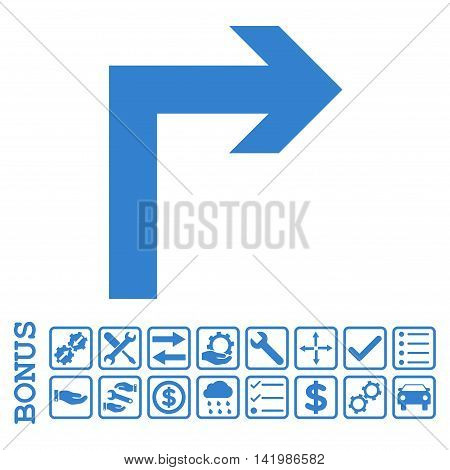Turn Right icon with bonus pictograms. Vector style is flat iconic symbol, cobalt color, white background. Bonus style is square rounded frames with symbols inside.