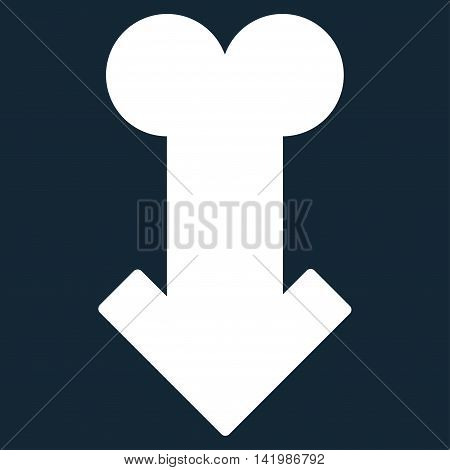 Male Sexual Disfunction vector icon. Style is flat symbol, white color, rounded angles, dark blue background.