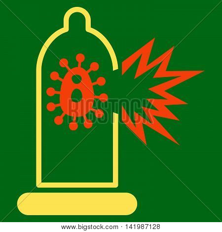 Damaged Condom With Virus vector icon. Style is bicolor flat symbol, orange and yellow colors, rounded angles, green background.