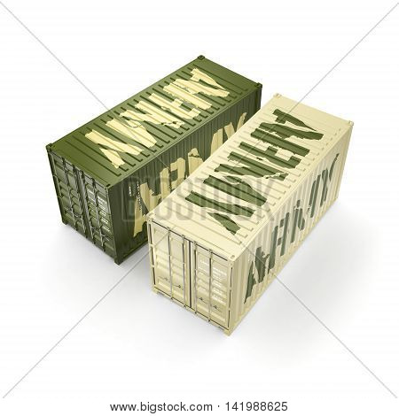3D Rendering Army Containers