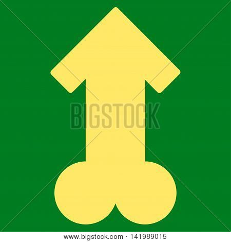 Male Sexual Potence vector icon. Style is flat symbol, yellow color, rounded angles, green background.