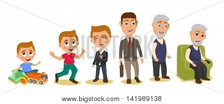 Set generations mans different ages from child to grandfather. Color flar vector illustration isolated on white background