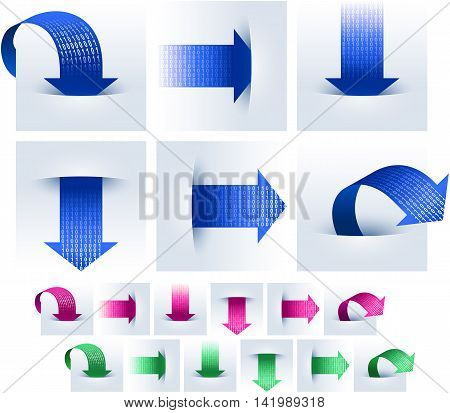 Arrows upload and download data in binary code; Vector icon set Eps10