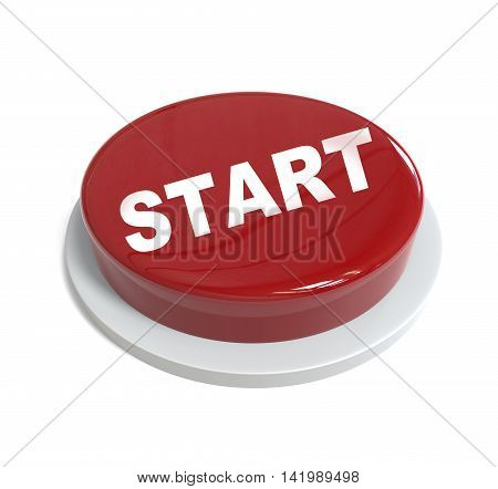 3D Rendering Of A Red Button With Startword  Written On It