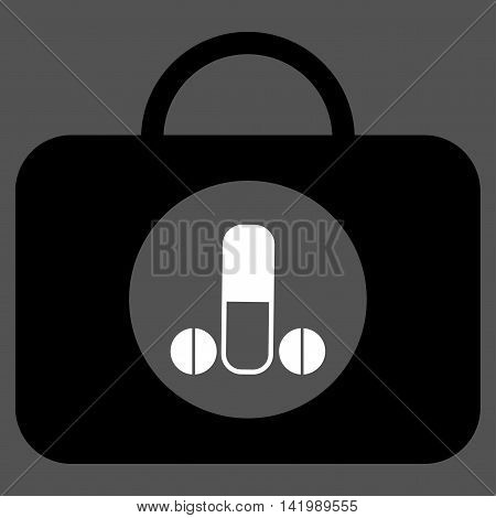 Male Sexual Toolbox vector icon. Style is bicolor flat symbol, black and white colors, rounded angles, gray background.