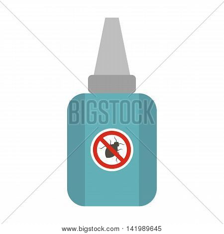 Medicine for protection pet from tick and flea icon in flat style on a white background