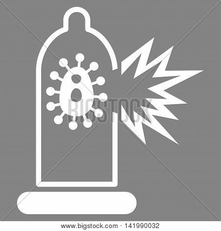Damaged Condom With Virus vector icon. Style is flat symbol, white color, rounded angles, gray background.