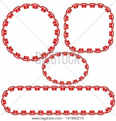 Set of Different Red Phone Frames Isolated on White Background