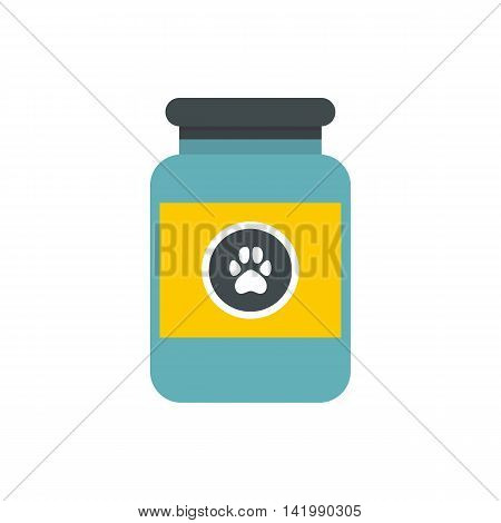 Vitamins or medicament for animals icon in flat style on a white background
