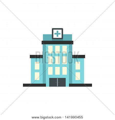 Hospital building icon in flat style on a white background