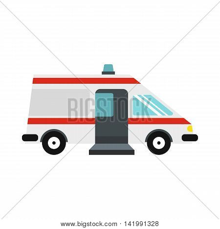 Ambulance car icon in flat style on a white background