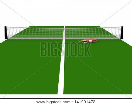 3D render of Green table tennis table with bats and ball