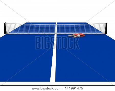 3D rendering of blue table tennis table with bats and ball