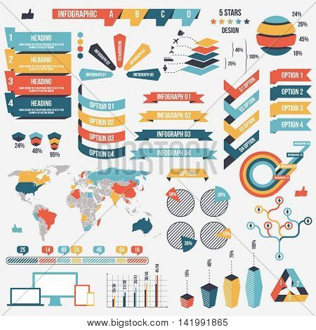 Collection of infograph people elements for business. Vector illustration. Infographic pictograms. Infographs elements and charts