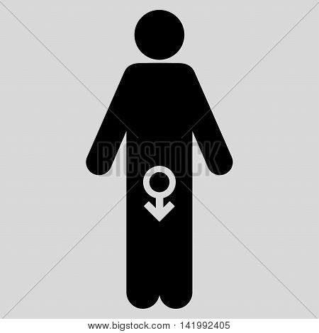 Male Impotence vector icon. Style is flat symbol, black color, rounded angles, light gray background.
