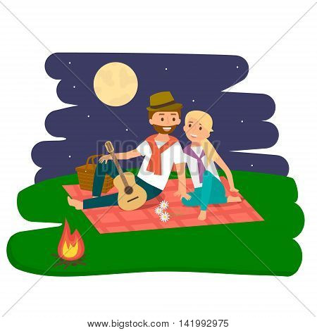 Happy family picnic resting. Young couple outdoors. Summer family picnic. Vector Illustration