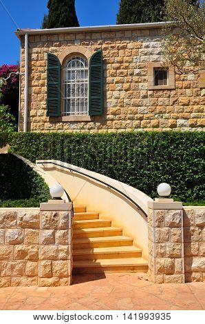 Some building at Bahai gardens of Haifa city. Northern Israel.