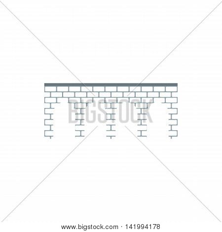Brick arch bridge icon in flat style on a white background