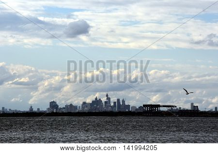 Botany Bay on a stormy day, Sydney city view in the background. View from Bonna Point (Kurnell, Sydney, Australia)