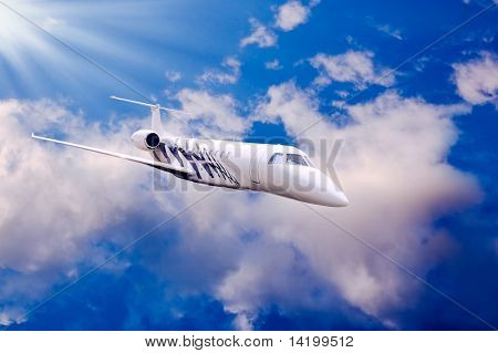 Airplane in air on blue sky