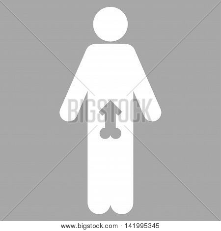 Male Potence vector icon. Style is flat symbol, white color, rounded angles, silver background.