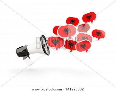 Megaphone With Flag Of Albania