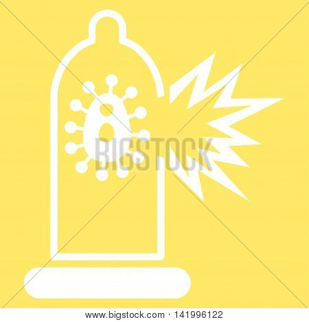 Damaged Condom With Virus vector icon. Style is flat symbol, white color, rounded angles, yellow background.