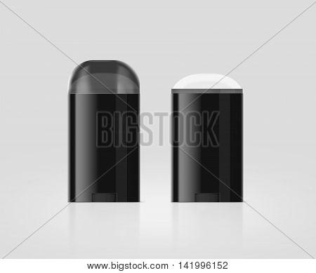 Blank black deodorant stick bottle mockup set clipping path 3d illustration. Antiperspirant flacon opened design mock up. Cosmetic skincare packaging flask template. Deodorizer plastic stick.