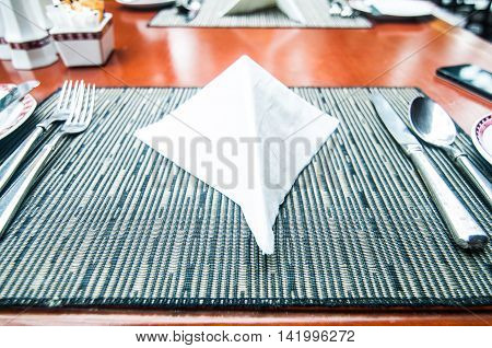 table setting - plate knife and fork on table