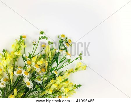 Colorful bright bouquet made of wild flowers on white background. Flay lay top view with copy space