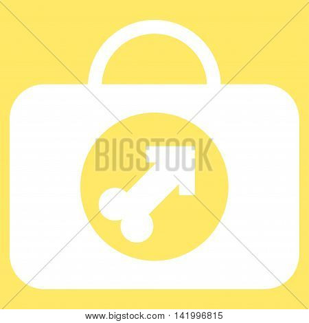 Male Erection Case vector icon. Style is flat symbol, white color, rounded angles, yellow background.