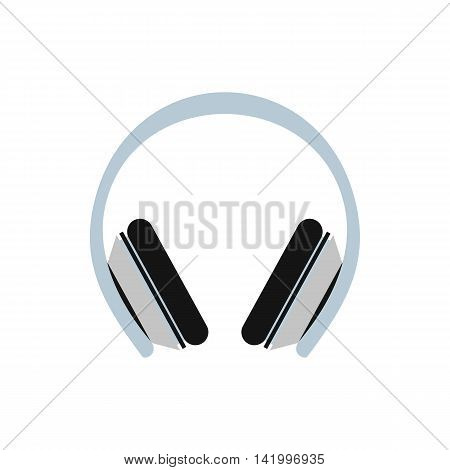 Protective headphones icon in flat style on a white background