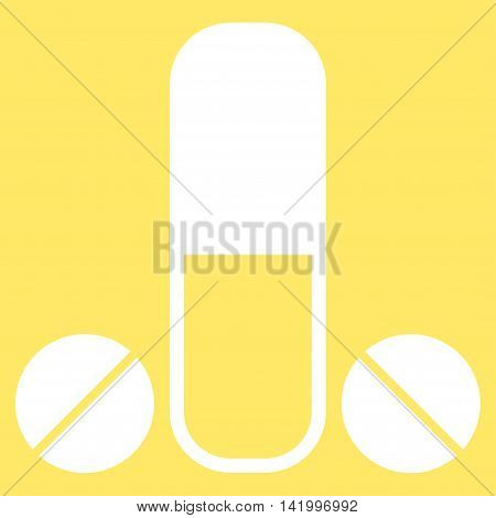 Male Medication vector icon. Style is flat symbol, white color, rounded angles, yellow background.