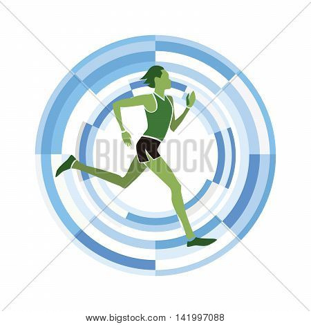 Man figure running. Sports disciplines silhouette on a circular background.