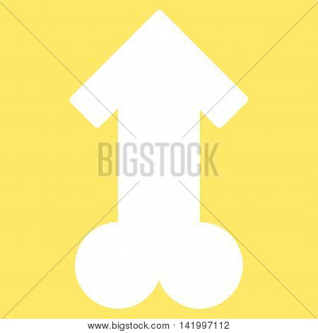 Male Sexual Potence vector icon. Style is flat symbol, white color, rounded angles, yellow background.