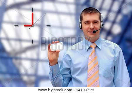 businessmen with card on business architecture background