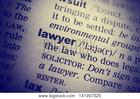 Lawyer Definition Word Text in Dictionary Page.
