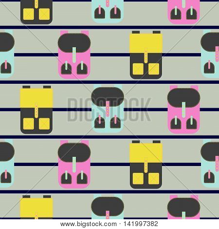 Backpack seamless beige striped vector pattern. Yellow and pink rucksack background.